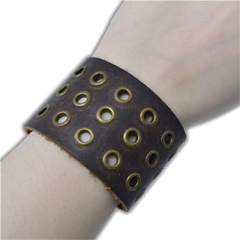 Buy Leather Bracelet with snaps (3 rows holes) by Generic