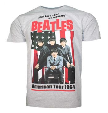 Buy Beatles American Tour 1964 Gray T-Shirt by Beatles