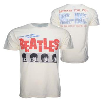 Buy Beatles American Tour 64 Cream T-Shirt by Beatles