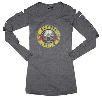 Buy Guns n Roses Distressed Logo Cut Long Sleeve Women's Tee by Guns 'n' Roses