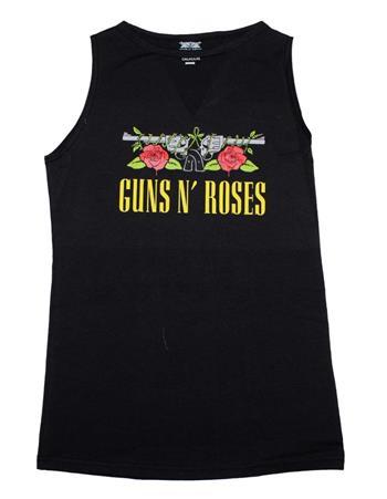 Buy Guns n Roses Guns Print Sleeveless Women's Tee with V-Cutout by Guns 'n' Roses