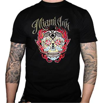 Buy Flaming Skull T-Shirt by Miami Ink