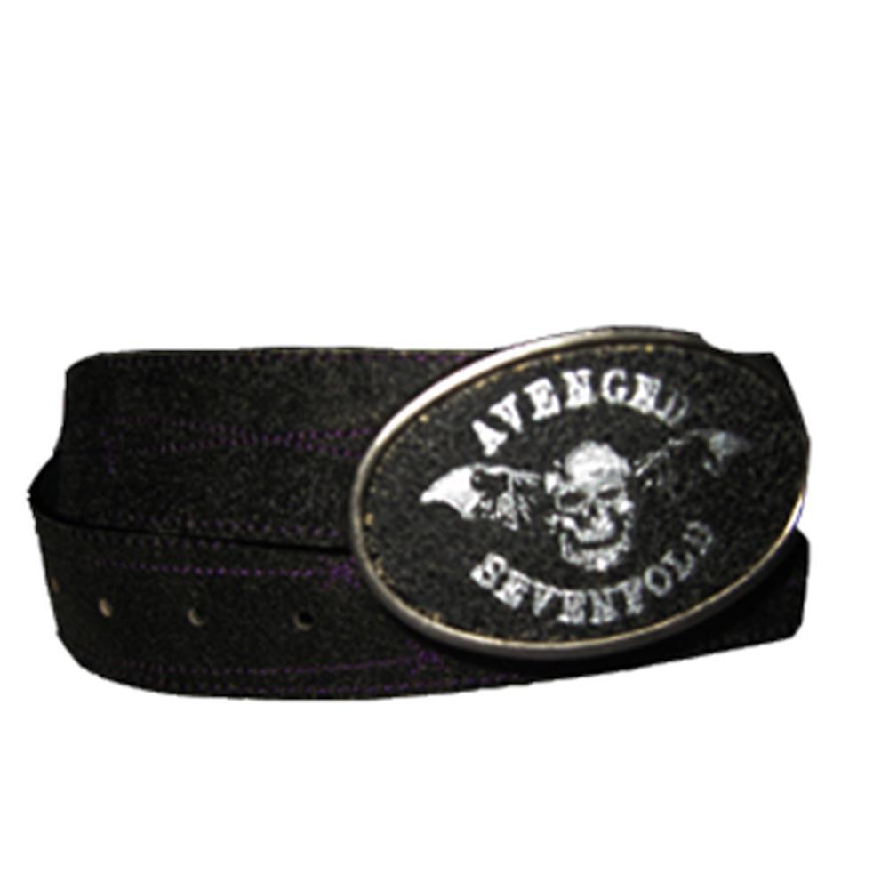 Bat Purple Stitches Leather Belt With Buckle