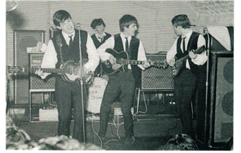 Beatles Live Black & White Postcard