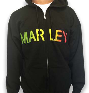 Bob Marley Rasta Name (Live Photo On Back) Zip Hoodie