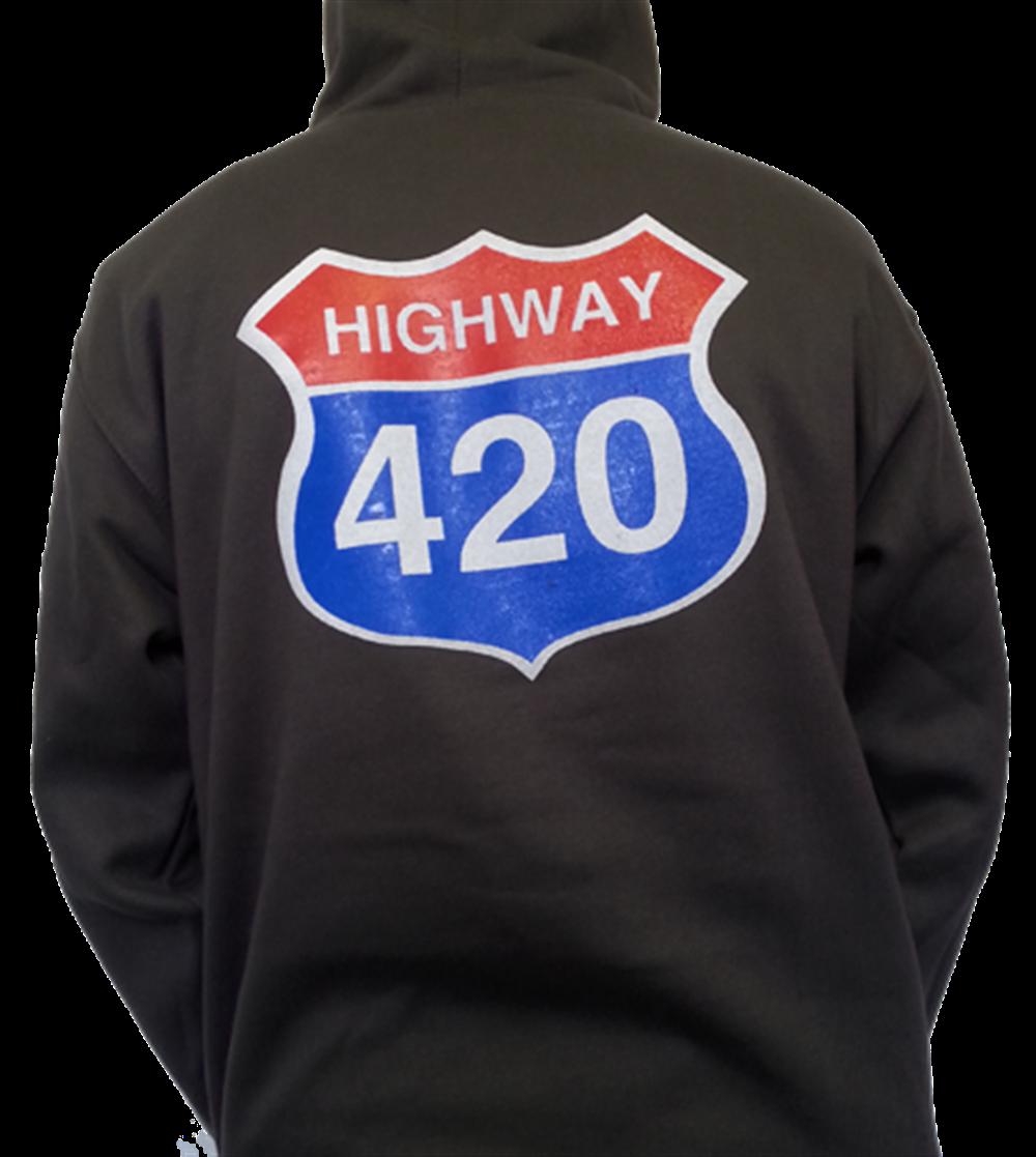Highway 420 Pullover Hoodie (pocket logo front)