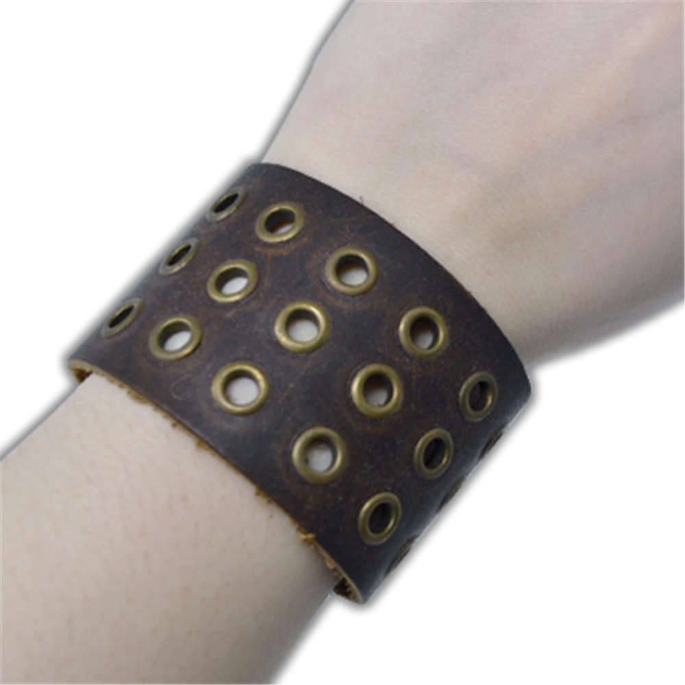 Leather Bracelet with snaps (3 rows holes)