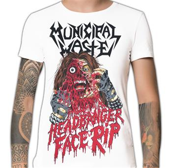 Municipal Waste (White) Headbanger Face Rip T-Shirt