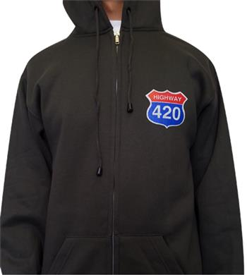 Buy Highway 420 (Zip Hoodie/pocket logo front) by GENERIC