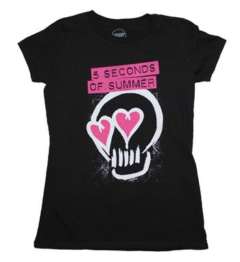 Buy 5 Seconds of Summer Pink Heartskull Junior's T-Shirt by 5 Seconds of Summer