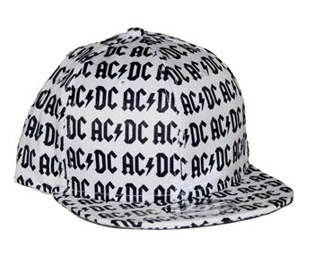 Buy AC/DC All Over Logo Flat Bill Snapback Hat by AC/DC