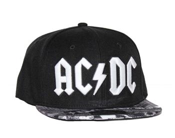 Buy AC/DC Black Wool Blend Flat Bill Hat with Sublimated Visor by AC/DC