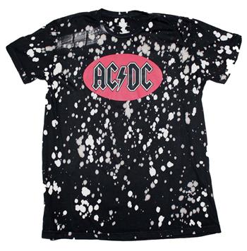 Buy AC/DC Bleach Spot Logo Soft Hand T-Shirt by AC/DC