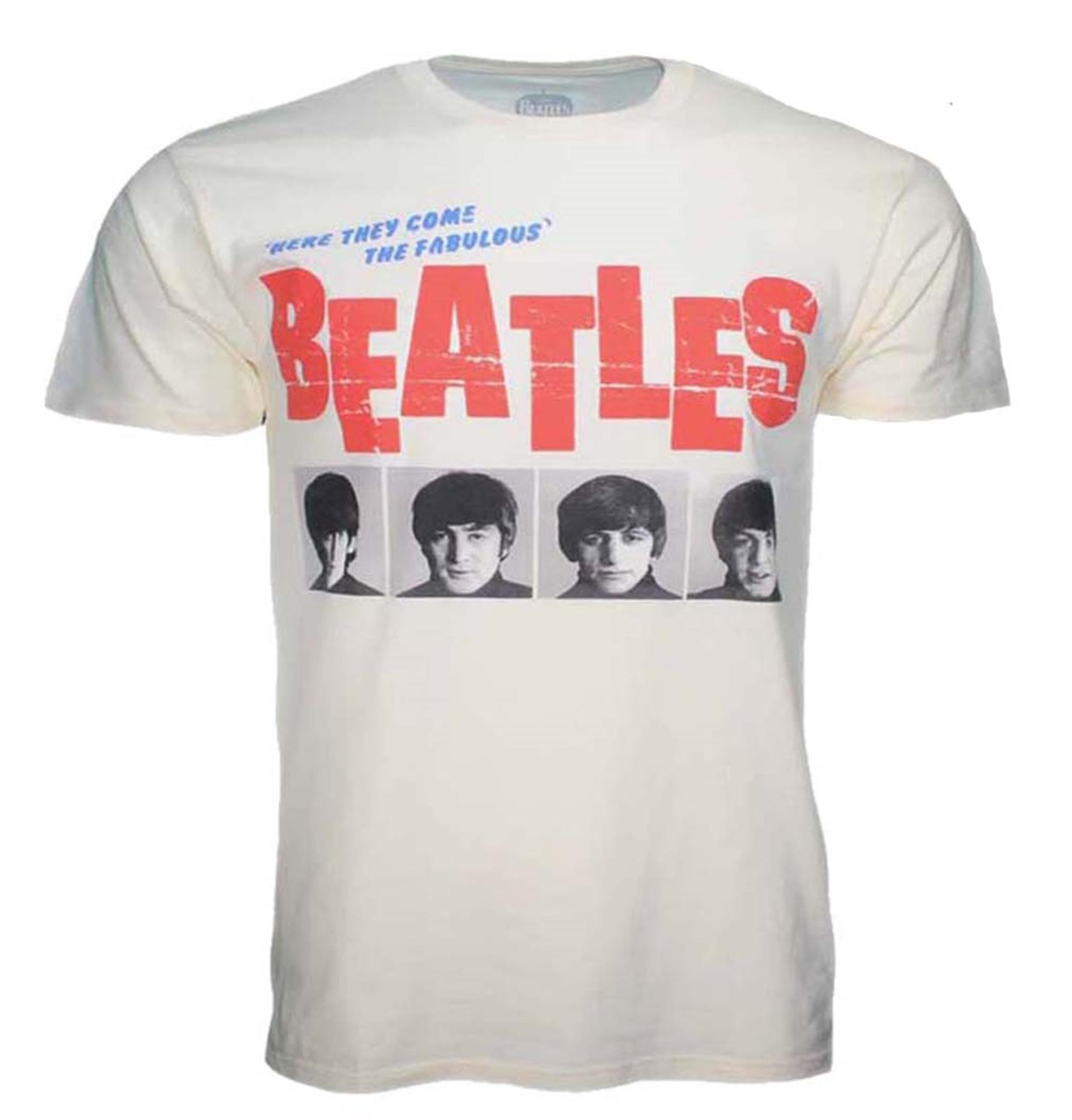Beatles American Tour 1964 Cream Front Print T-Shirt