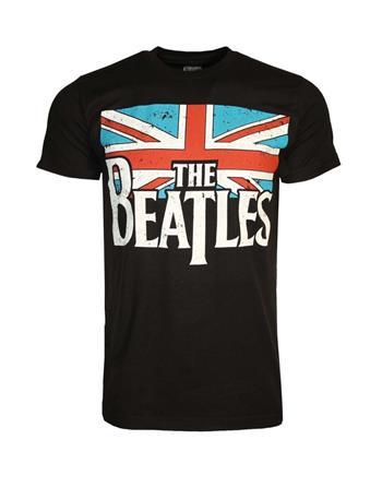 Beatles Beatles Distressed British Flag T-Shirt