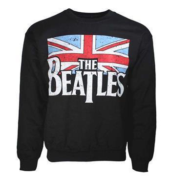 Beatles Beatles Distressed Flag Crew Neck Sweatshirt