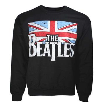 Beatles Beatles Distressed Flag Crew Neck Sweatshirt