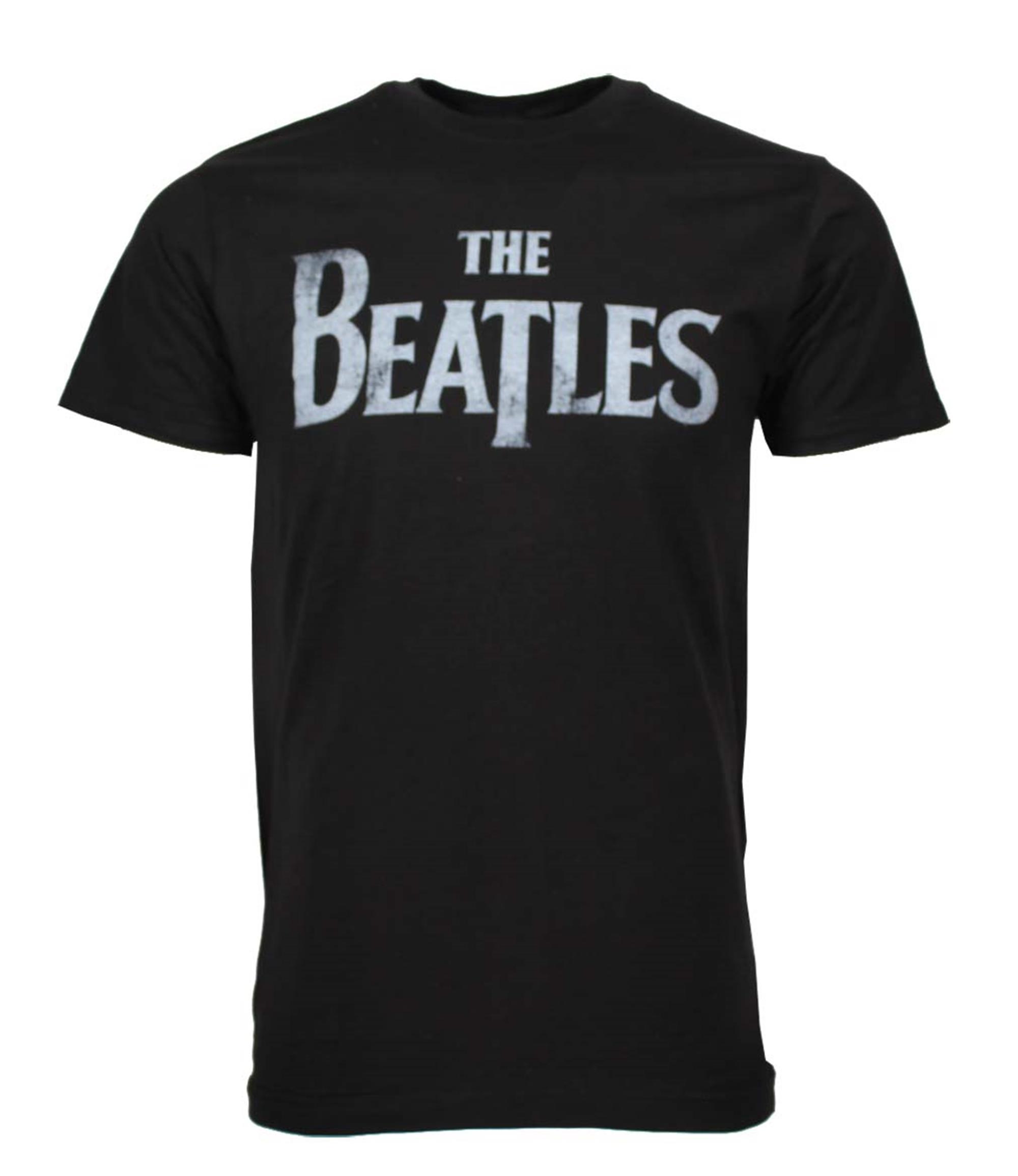Beatles Distressed Logo Black T-Shirt