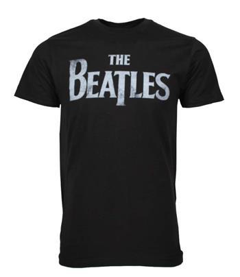Beatles Beatles Distressed Logo Black T-Shirt