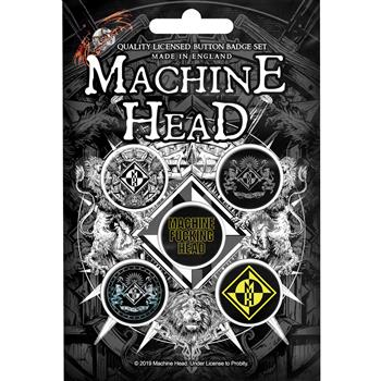 Machine Head Crest Button Pin Set