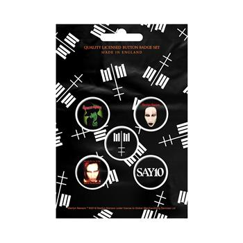 Marilyn Manson Cross Logo Button Pin Set