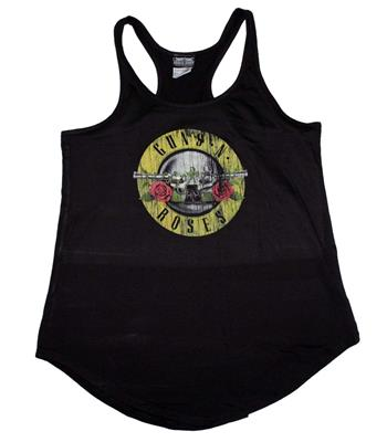 Buy Guns n Roses Distressed Logo Women's Racerback Tank - Black by GUNS 'N' ROSES
