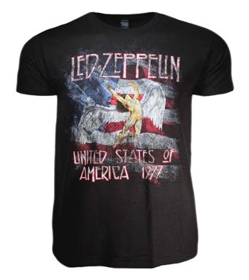 Buy Led Zeppelin USA 77 with Flag T-Shirt by Led Zeppelin