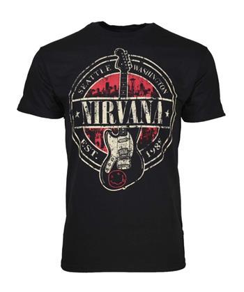 Nirvana Nirvana Established 1988 Guitar Stamp T-Shirt