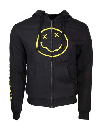 Buy Nirvana Smile Discharge Zip Hoodie Sweatshirt by Nirvana