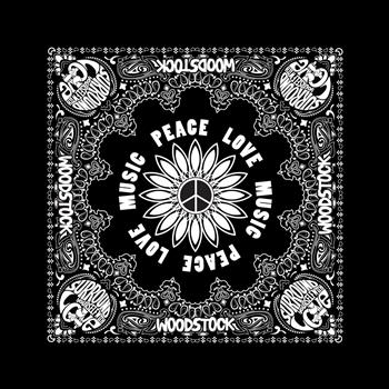Buy Peace Love Music Bandana by Woodstock