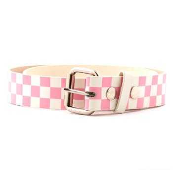 LEATHER BELT Pink & White Checker
