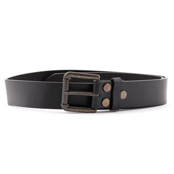LEATHER BELT Plain Black 3 Pins