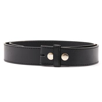 LEATHER BELT Plain black Without Buckle