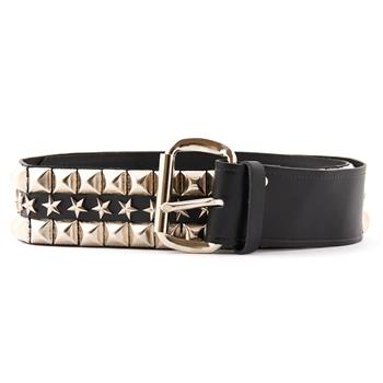 LEATHER BELT Pyramid & Stars Black