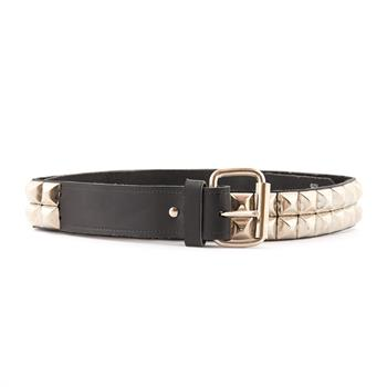 LEATHER BELT Pyramid 2 Rows Black - 41.5""
