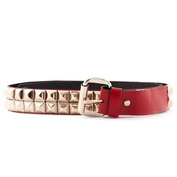 LEATHER BELT Pyramid 2 Rows Red