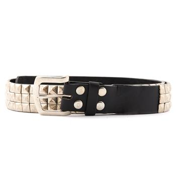 Leather Belt Pyramid 3 Rows Black