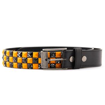 LEATHER BELT Pyramid Orange & Black