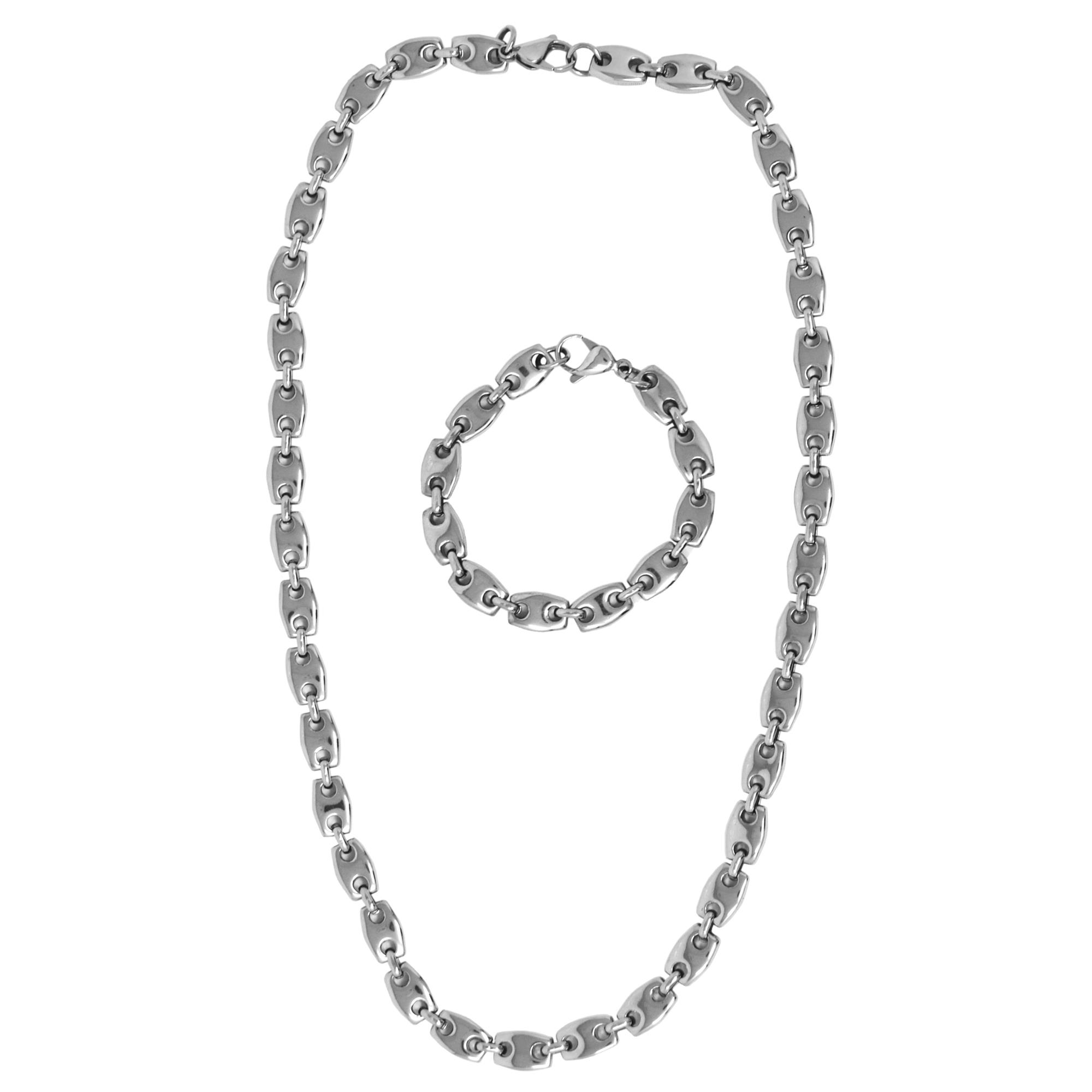 S STEEL NK/BR SET 24IN/61CM CHAINMAIL LINK