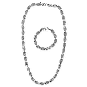 Generic S STEEL NK/BR SET 24IN/61CM FLAT SHAPED BEADS