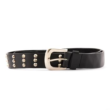 LEATHER BELT Small Pins 3 Rows Black - 14