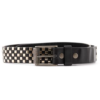 LEATHER BELT Squares Black & Silver - 13.5
