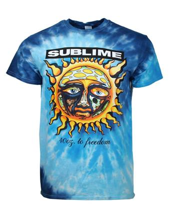 Buy Sublime 40 Oz To Freedom Blue Tie Dye T-Shirt by SUBLIME