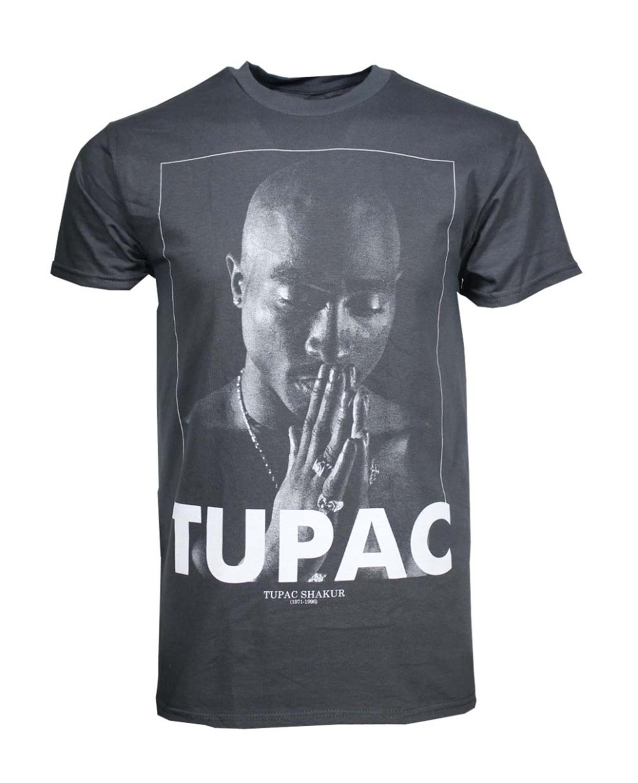Tupac Praying Charcoal Heather Men's T-Shirt