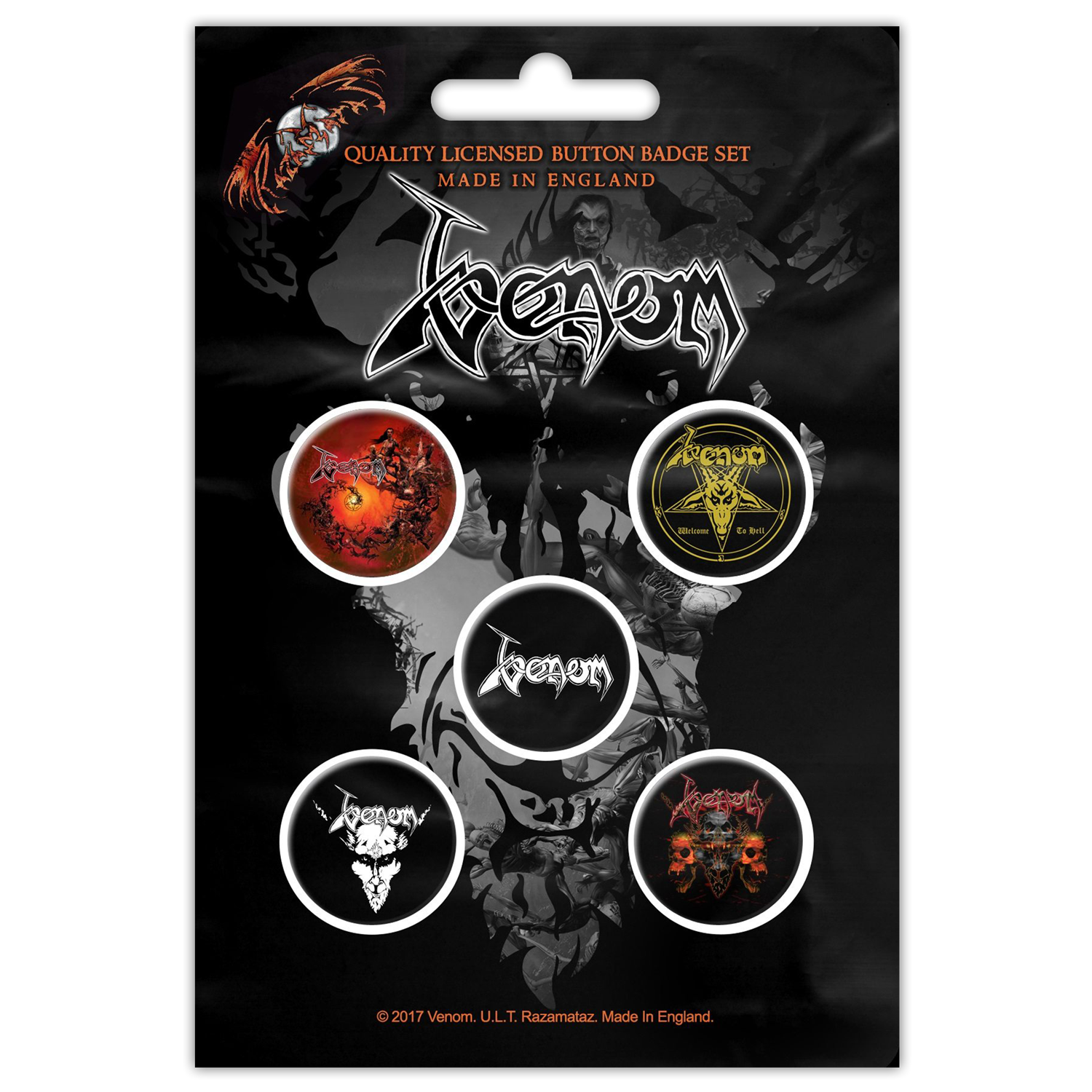 Black Metal Button Pin Set