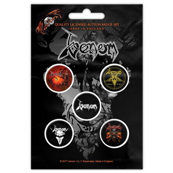 Venom Black Metal Button Pin Set