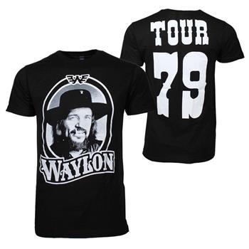 Buy Waylon Jennings Tour 79 Black T-Shirt by Waylon Jennings